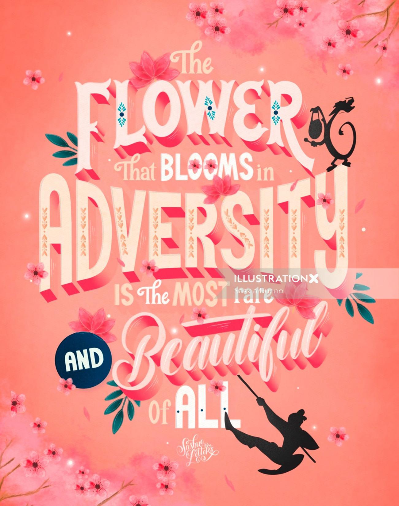 Lettering art of  Flower That Blooms In Adversity