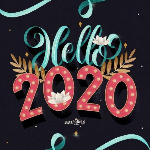 Typography art of hello 2020