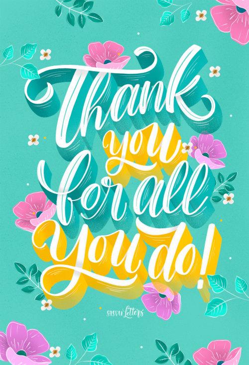 Desenho de caligrafia de Obrigado por tudo que você faz
