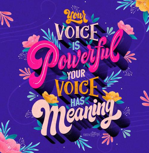 您的声音是强大的刻字艺术