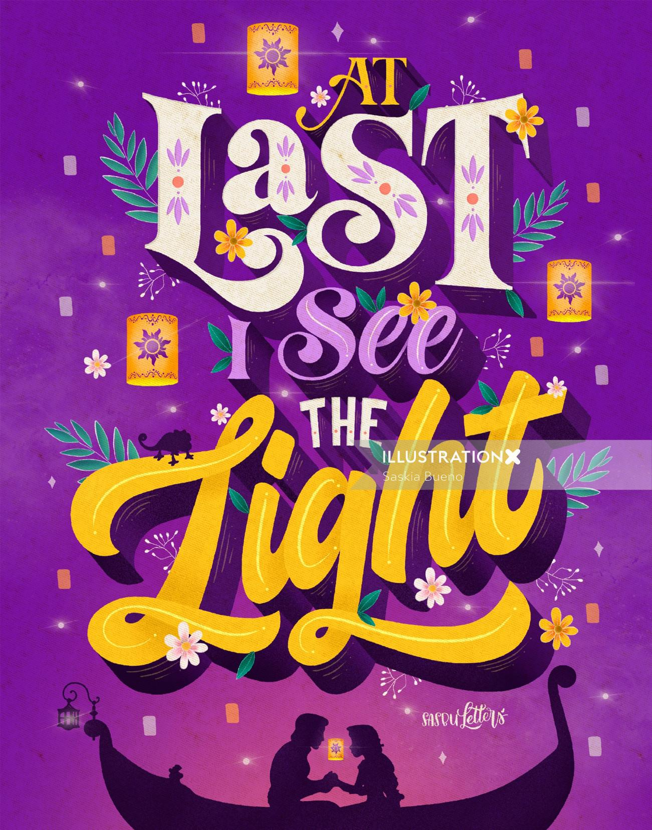 Lettering illustration of At Last I See The Light