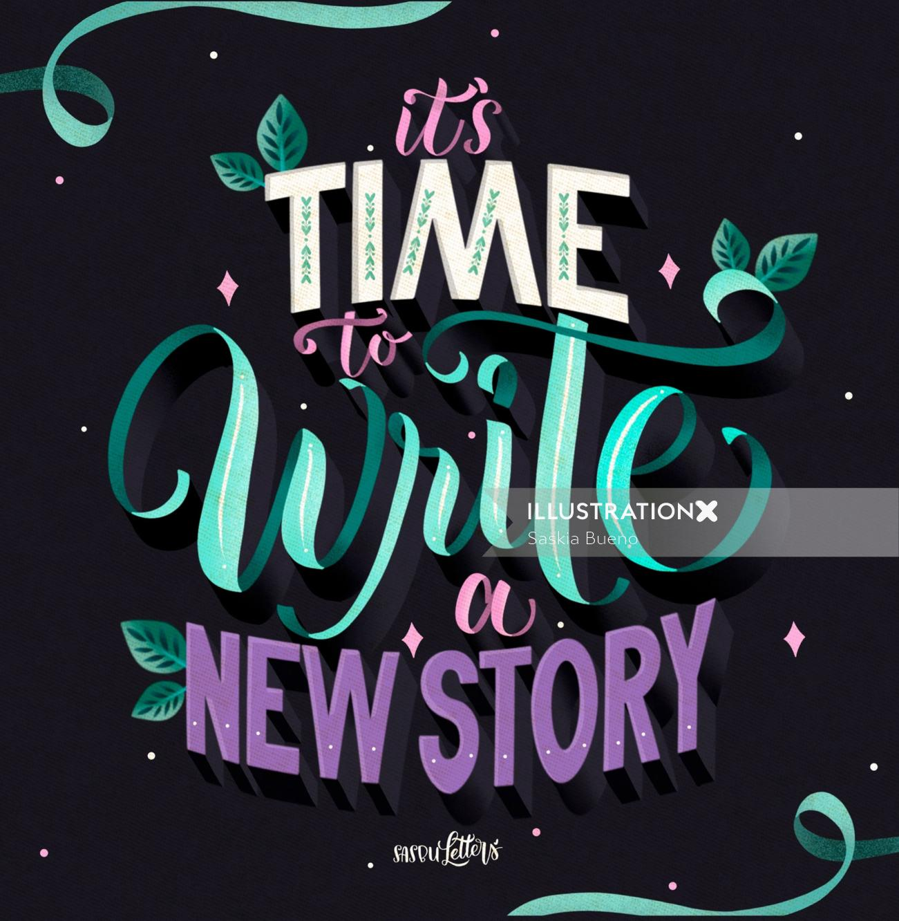 Lettering art of It's Time To Write new story