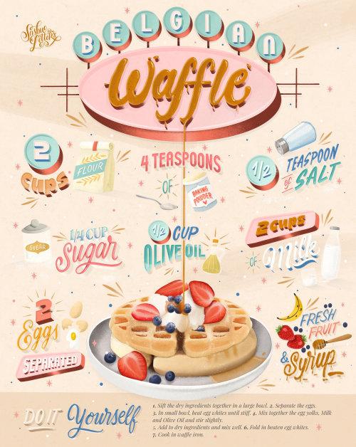 Ilustração de letras do waffle belga