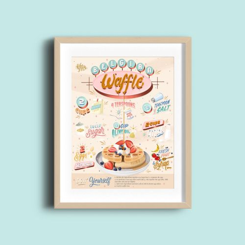 Digital painting of Belgian Waffle