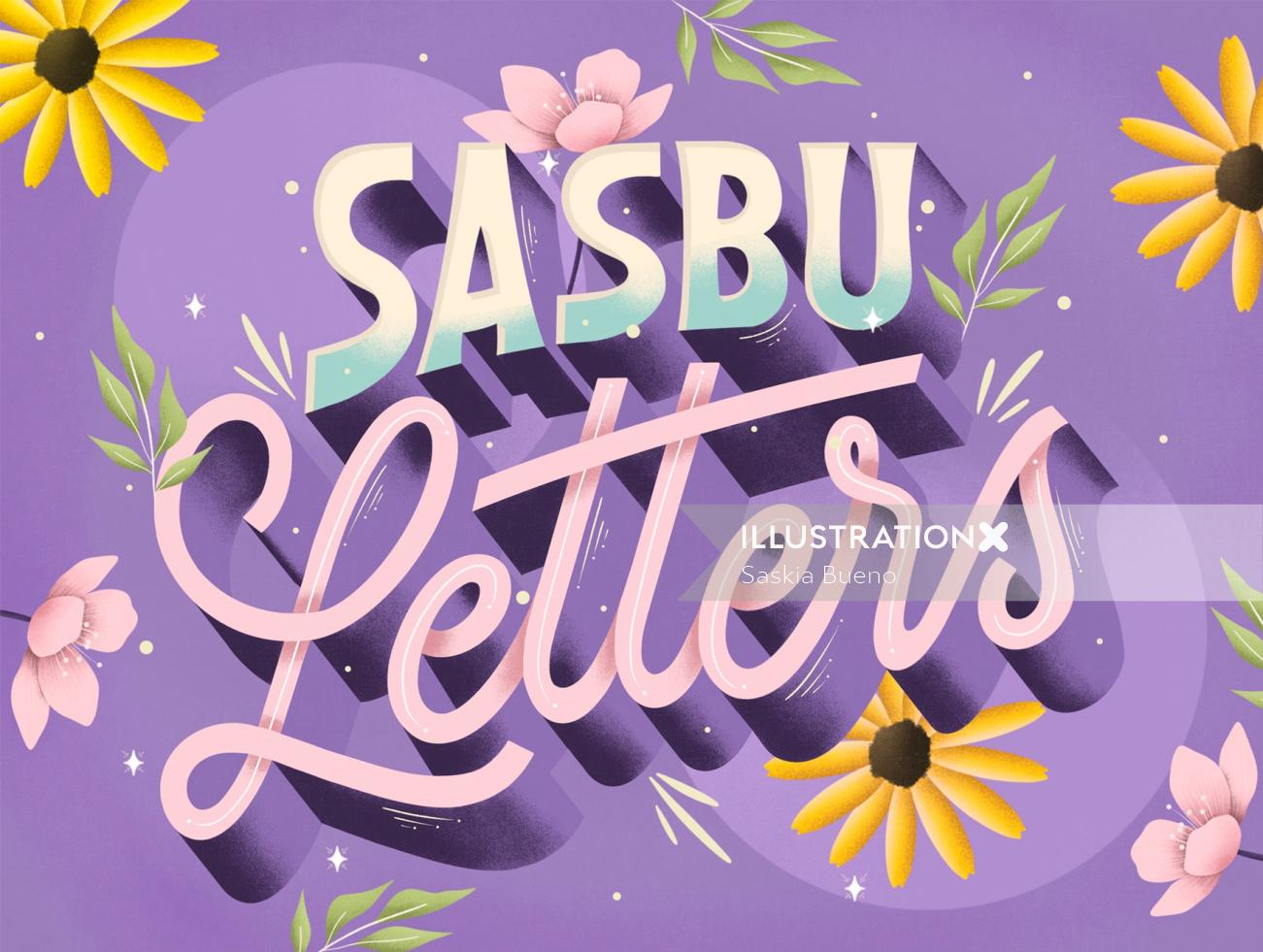 Calligraphy design of sasbu letters
