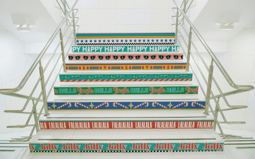 christmas, jolly, modern, installation, marketing, branding, stairs, wall graphics, advertising, fes