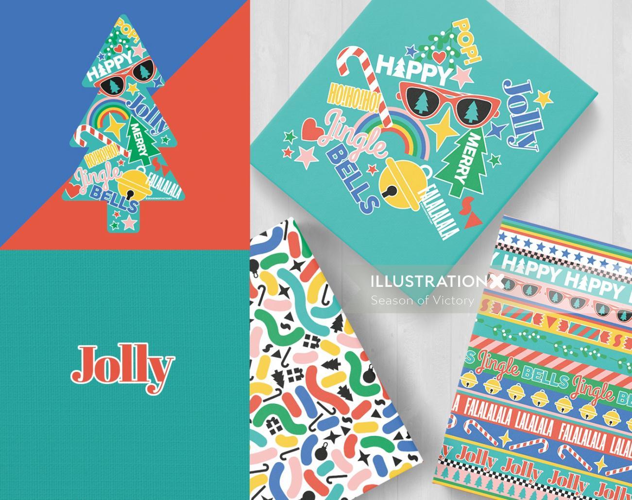 Digital painting of gift packaging