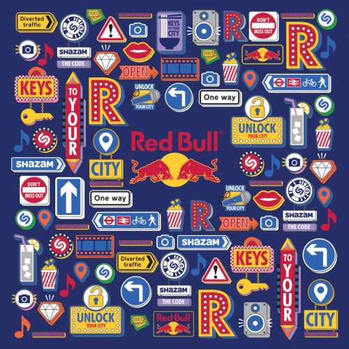 Red bull patterns digital painting