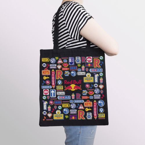 Red bull graphic illustration on bag