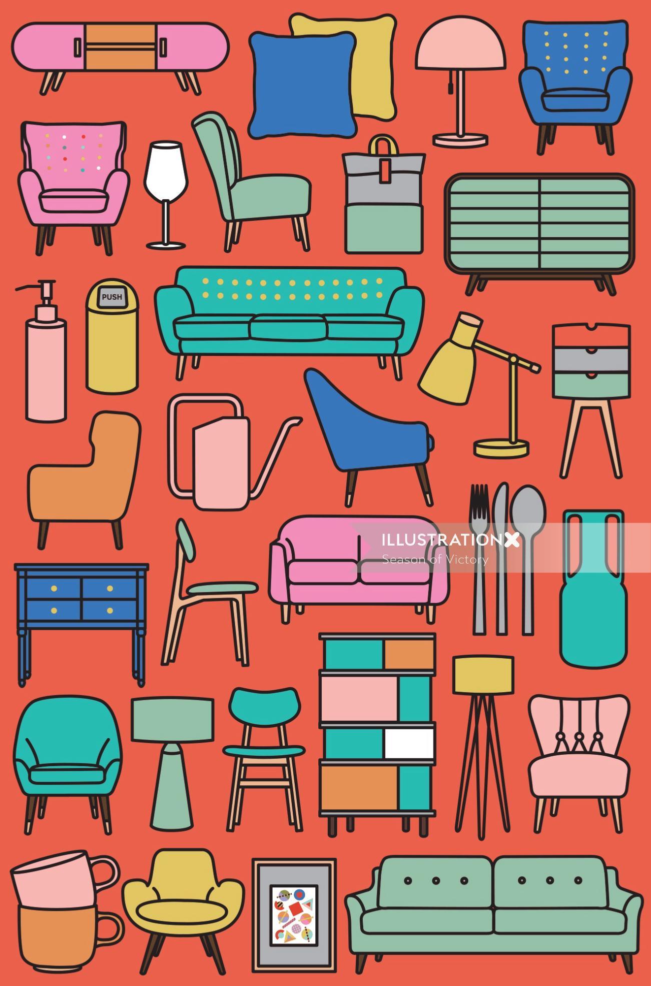 homeware, modern, pattern, furniture, print, poster, interior, homeware, chair, home, house, table,