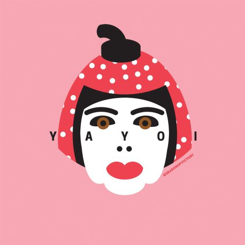 yayoi kusama, portrait, spot illustration, editorial illustration, artist, face, famous, head, portr