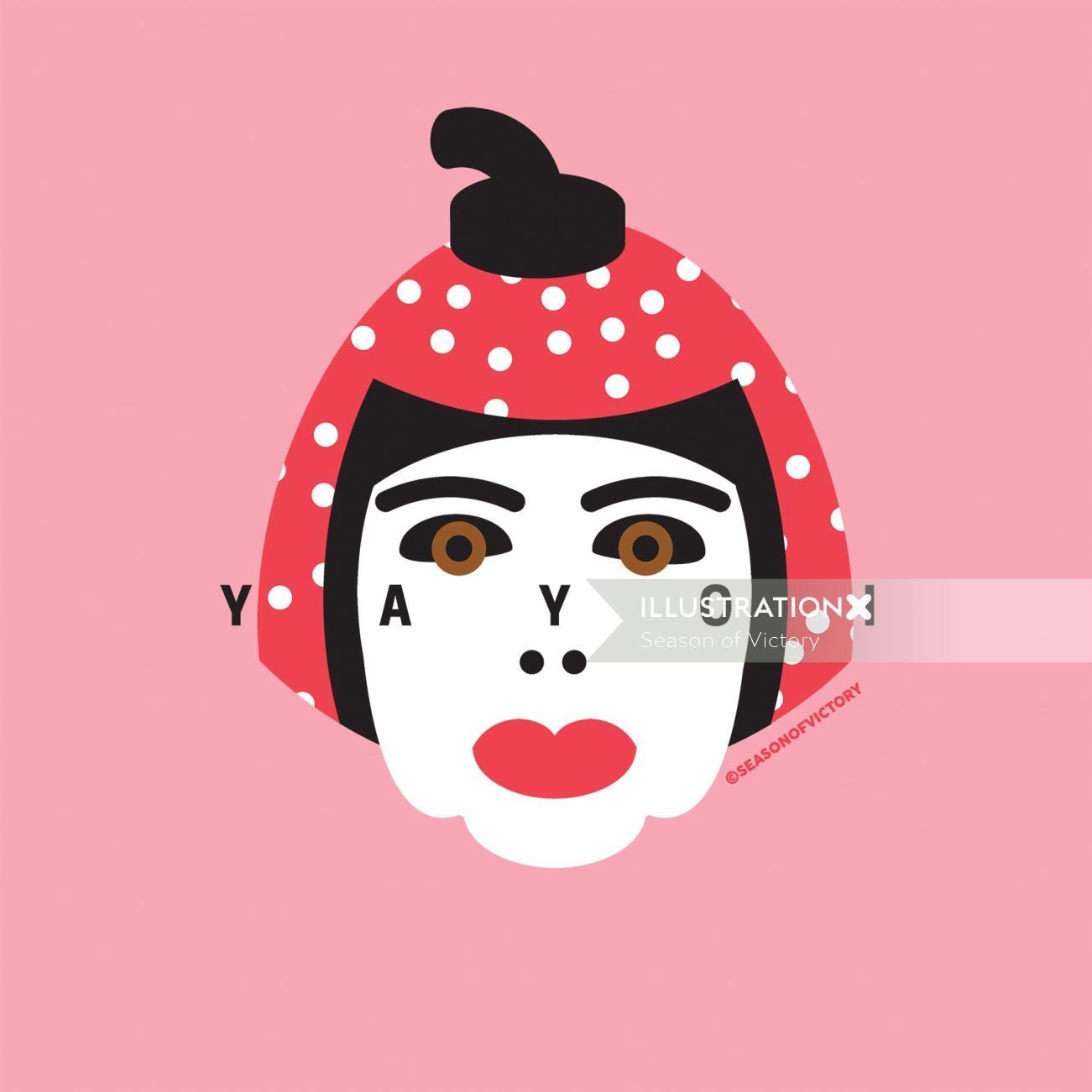yayoi kusama, portrait, spot illustration, editorial illustration, artist, face, famous, head, portr
