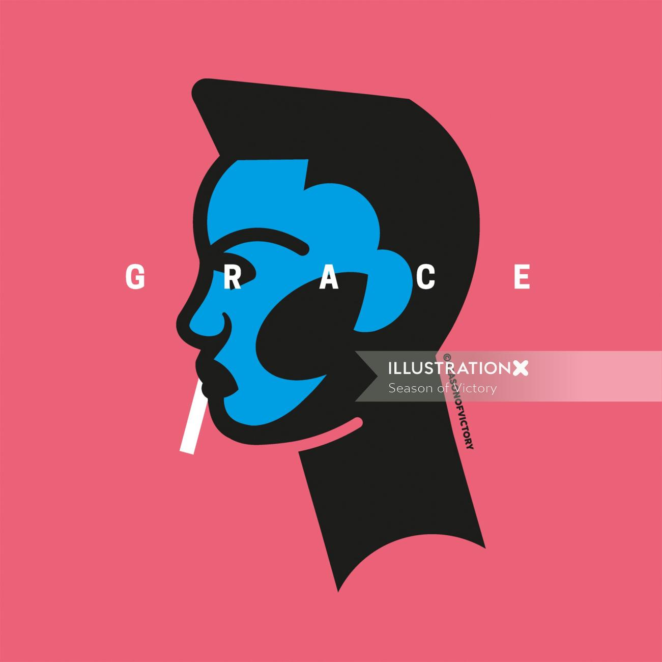 Grace Jones, music, musician, singer, female, empowerment,portrait, spot illustration, editorial ill