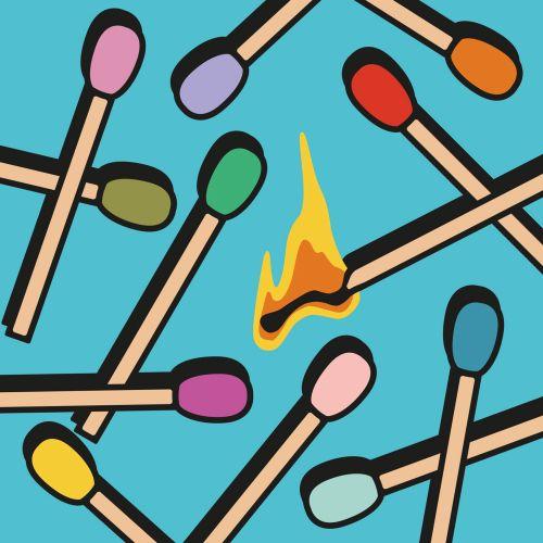 corporate, burnout, spot illustration, spot graphic, matches, burn, flame, fire, match, light, busin
