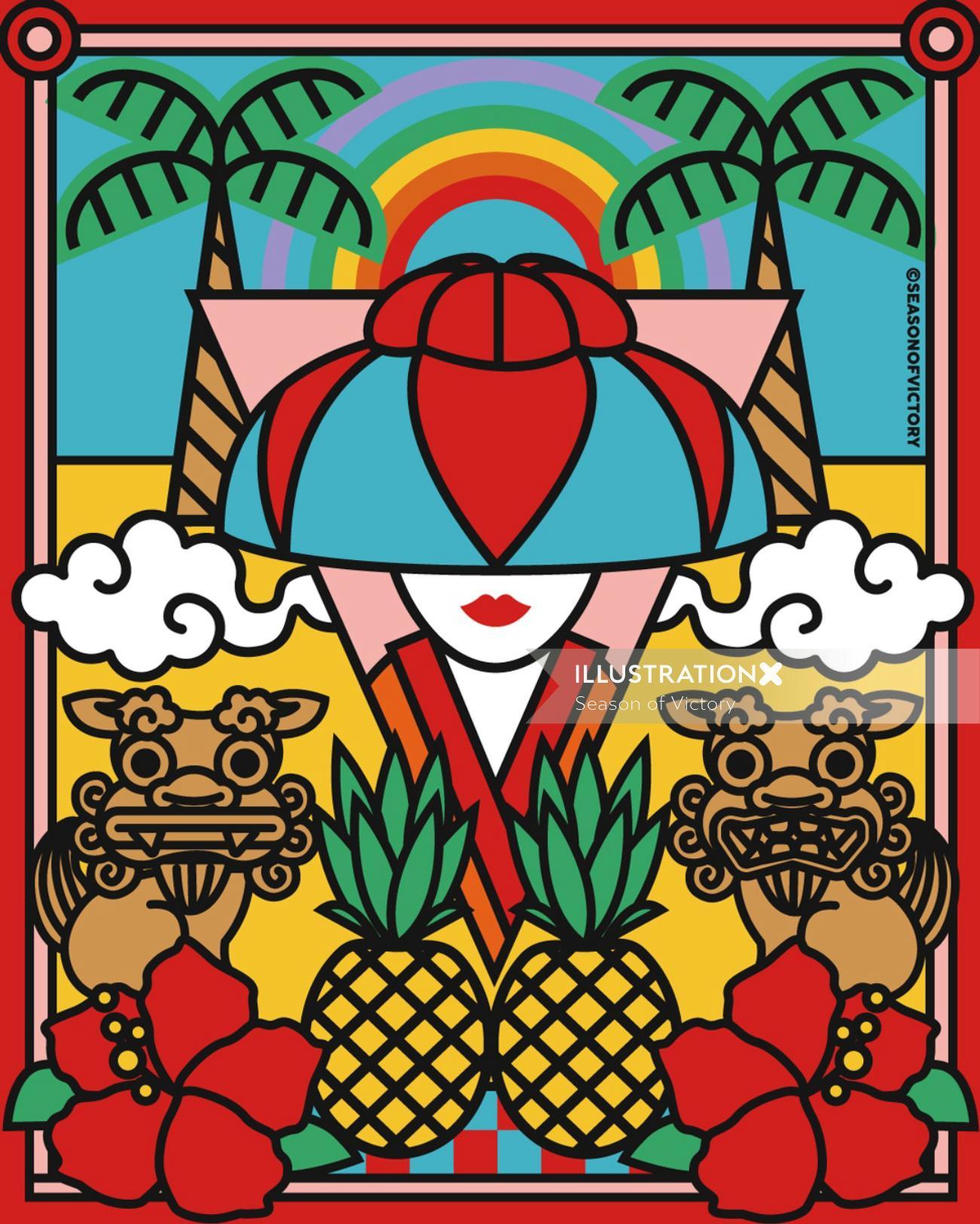 The healthy Okinawan diet pop art