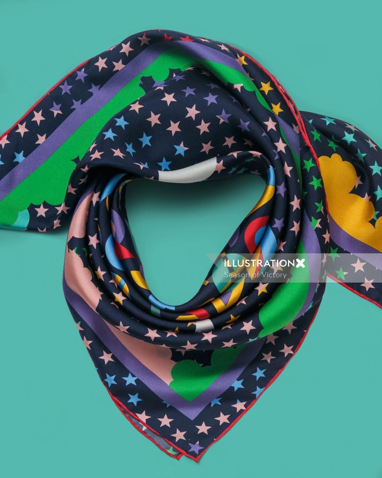 scarf, surface design, pattern, fashion, accessories, colorful, color, colourful, geometric