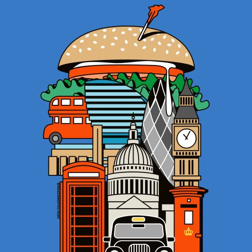 food, london, guide, cover art, hamburger, burger, cab, black cab, city, restaurant, bigben, london