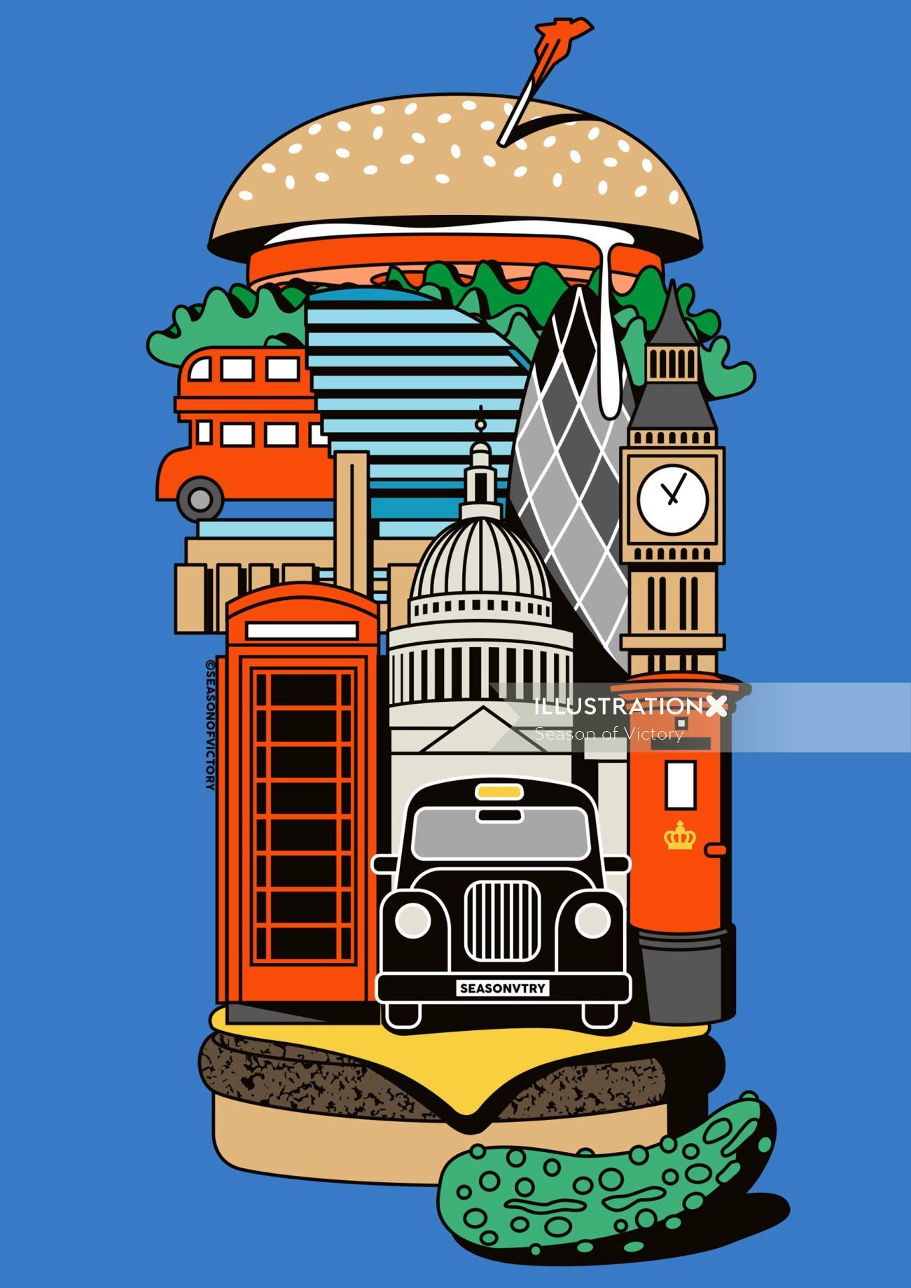 food, london, guide, cover art, hamburger, burger, cab, black cab, city, restaurant, bigben, london