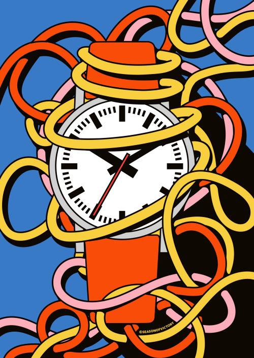 Working around the clock editorial Illustration