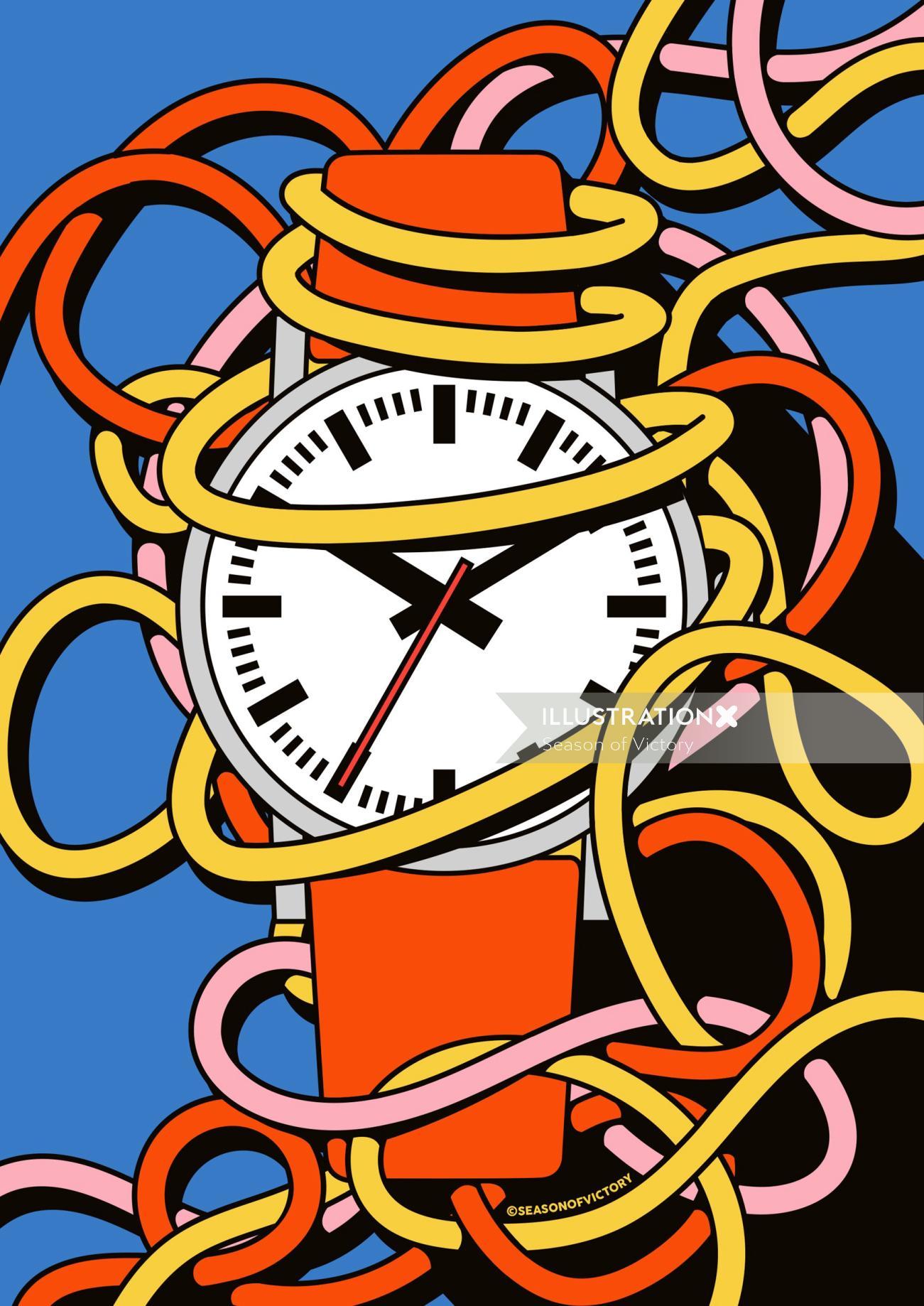 poster, coverart, watch, time, illustration, editorial, magazine, branding, spot illustration, time,