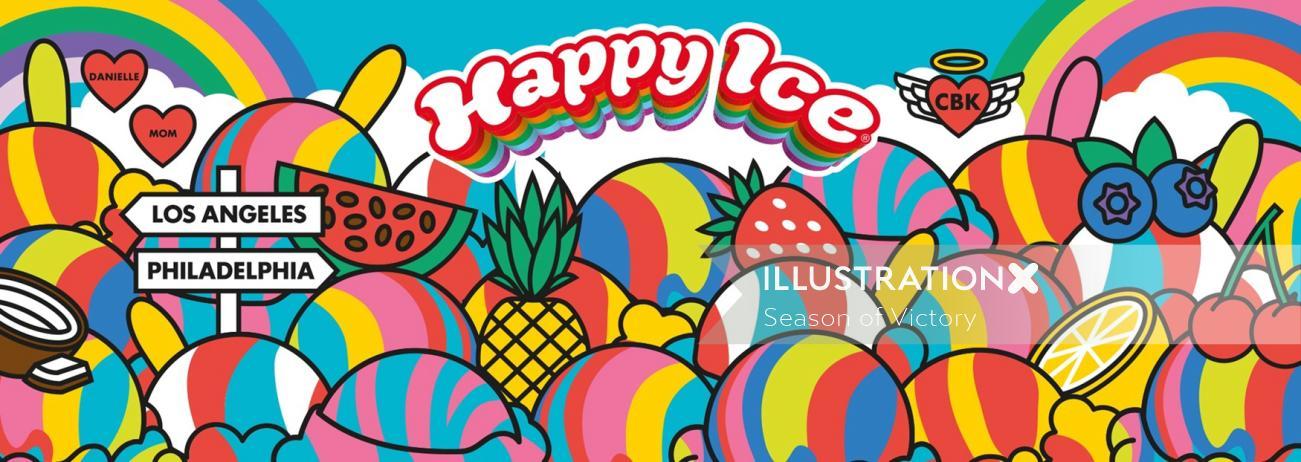 Restaurant branding, food truck, mural, branding. Ice cream, fruit, dairy free, fat free, vegan, ice