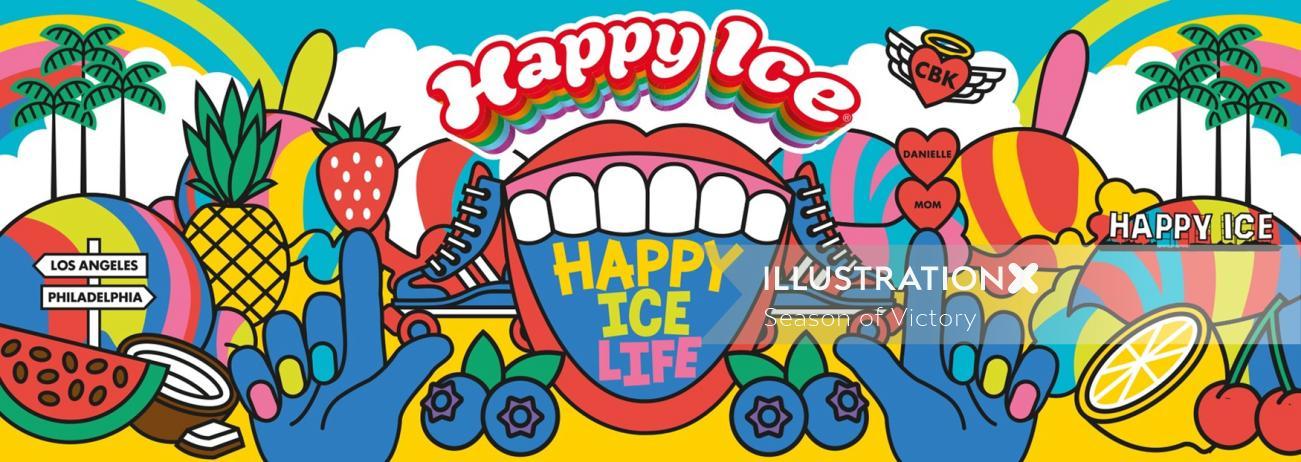 Restaurant branding, food truck, mural, branding. Ice cream, fruit, dairy free, fat free, vegan, hap