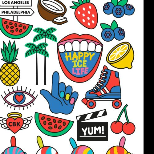 food truck, mural, branding. Ice cream, fruit, dairy free, fat free, vegan, stickers, icons, symbols