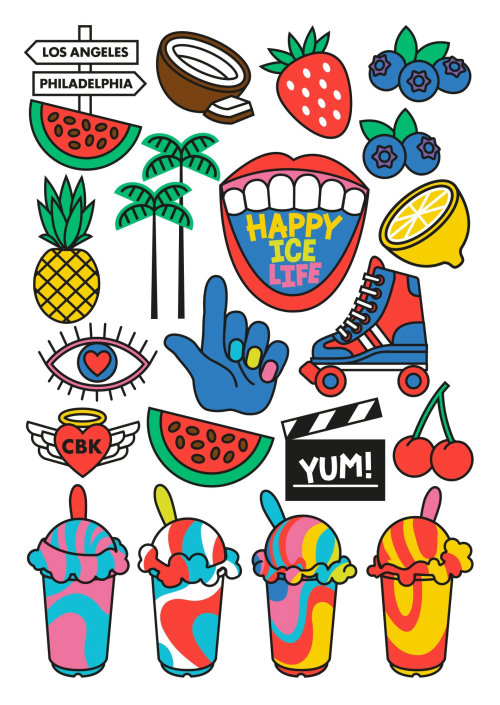 Icons design for happy ice life in Los Angeles