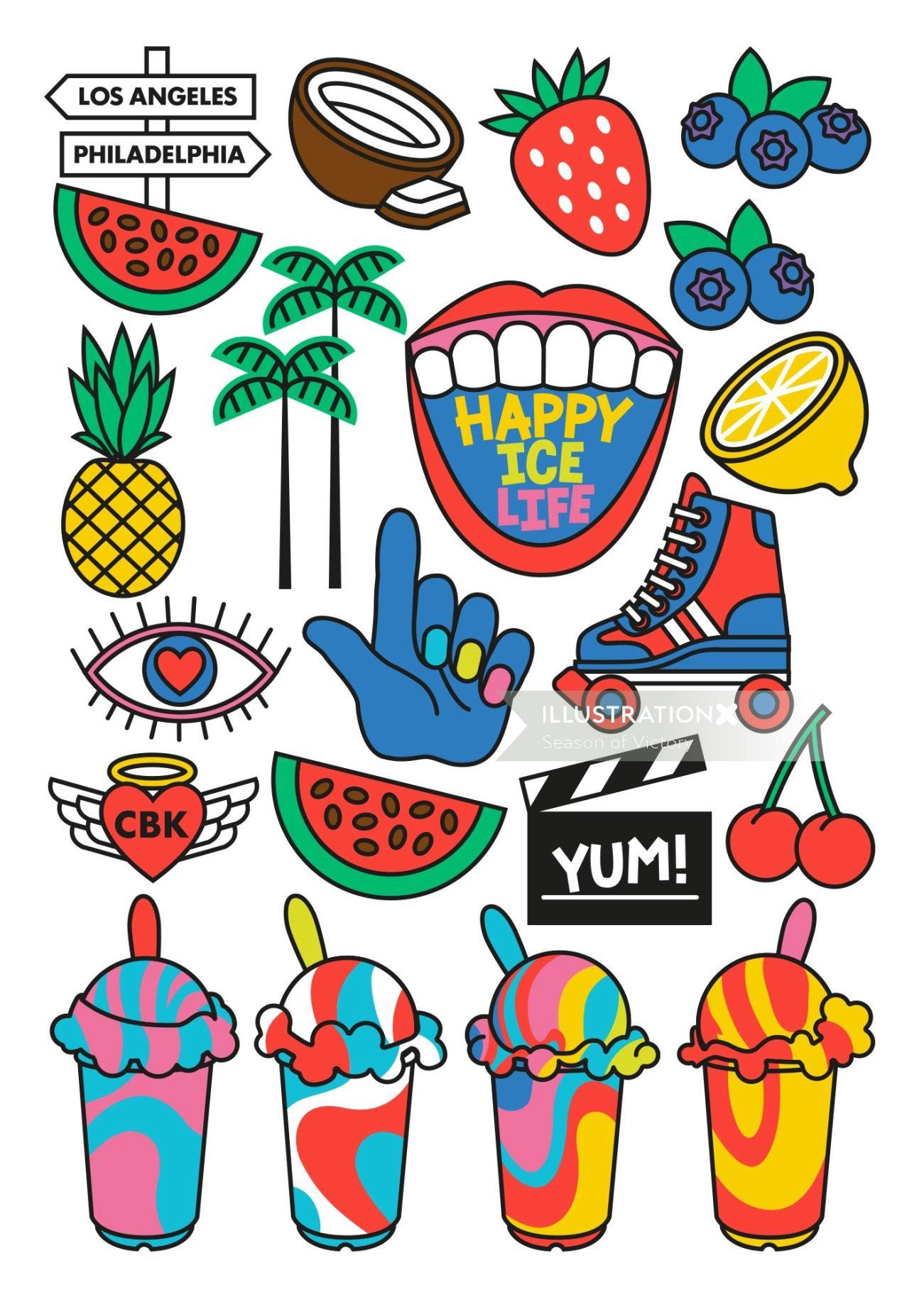 food truck, mural, branding. Ice cream, fruit, dairy free, fat free, vegan, stickers, icons, symbols
