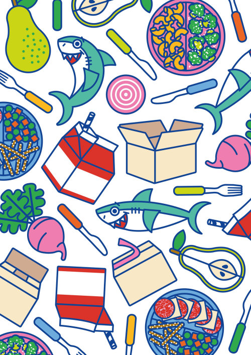 Illustration icons and patterns for a Kids food brand