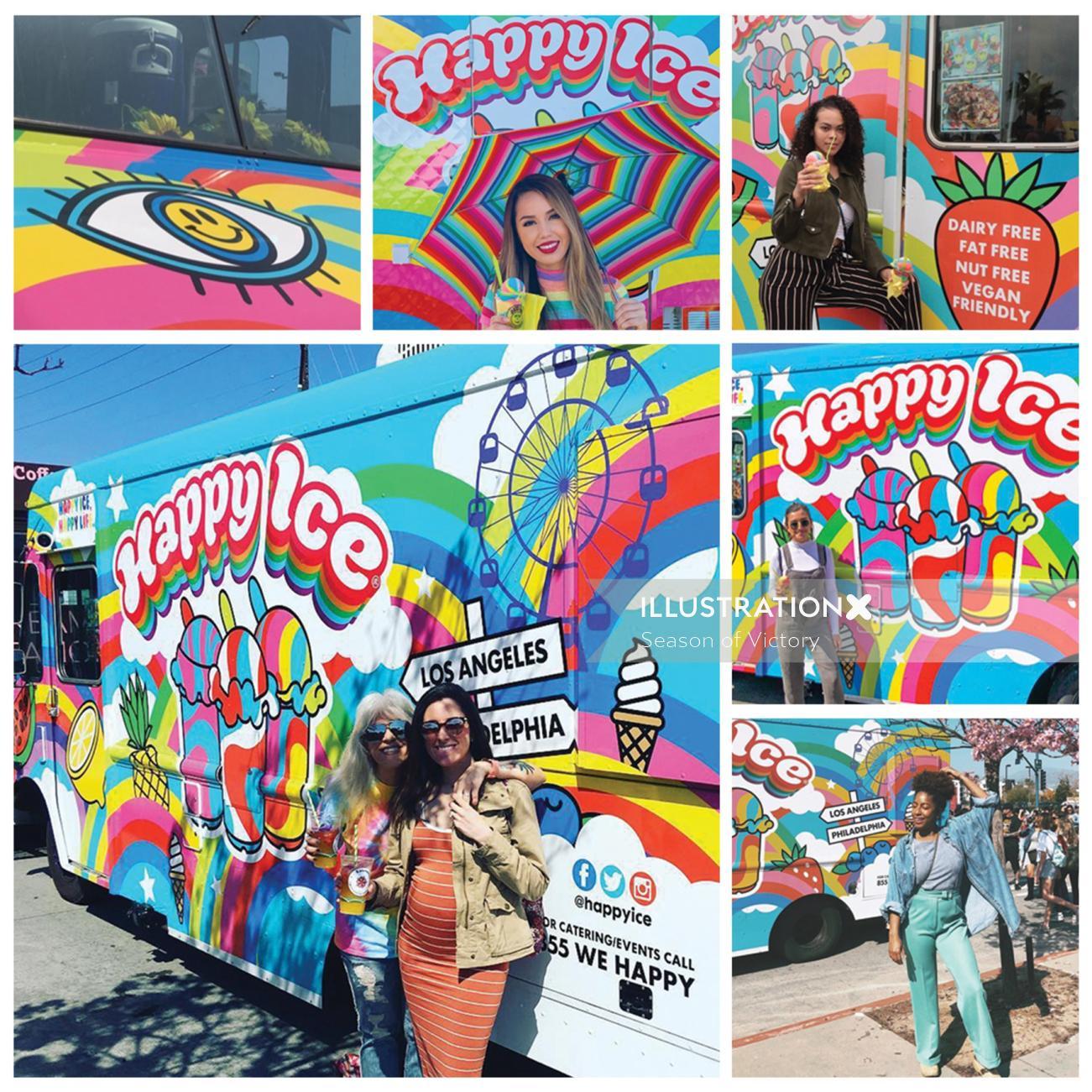 Mural art of happy ice life in Los Angeles