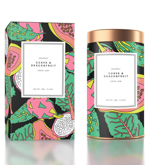 ?Exotic Tropical Fruit pattern illustration for tea packaging