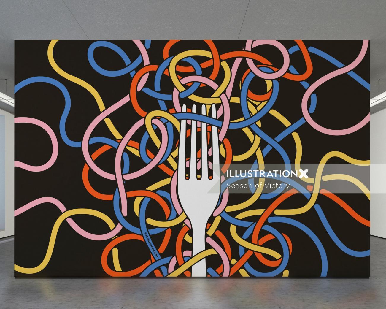 Restaurant themed illustration for interior for magazine cover