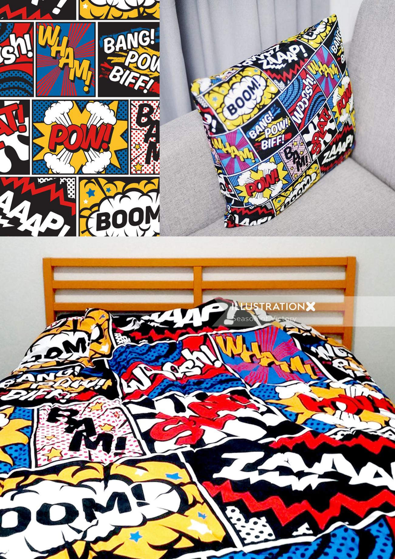 Pop art comic book imagery for product