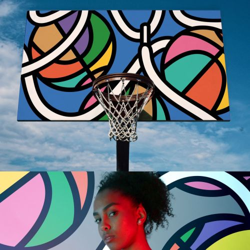 Mural illustration of Basketball court