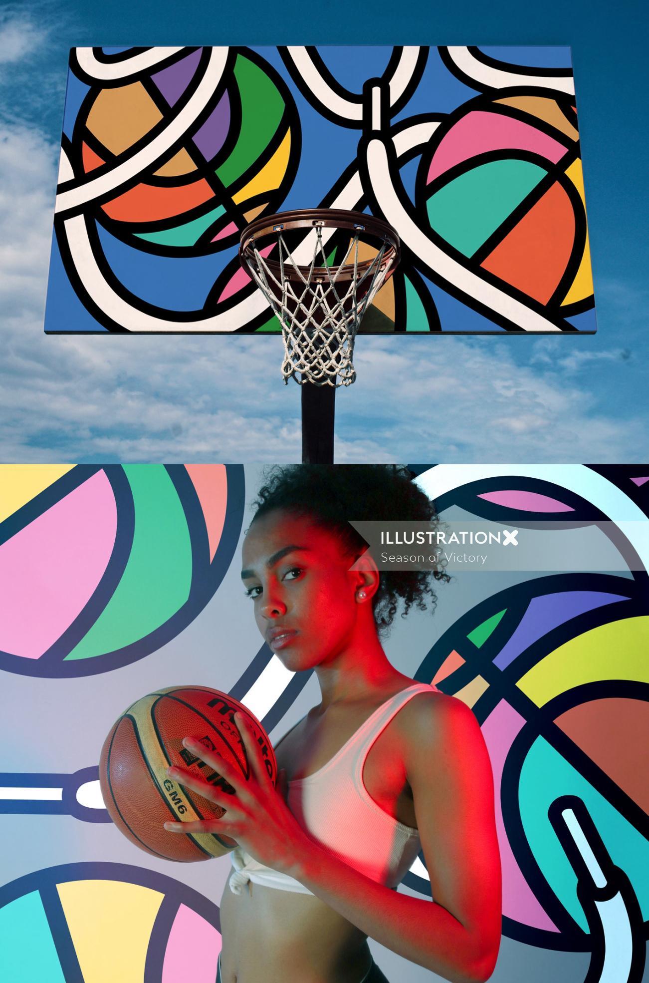Mural illustration of Basketball court