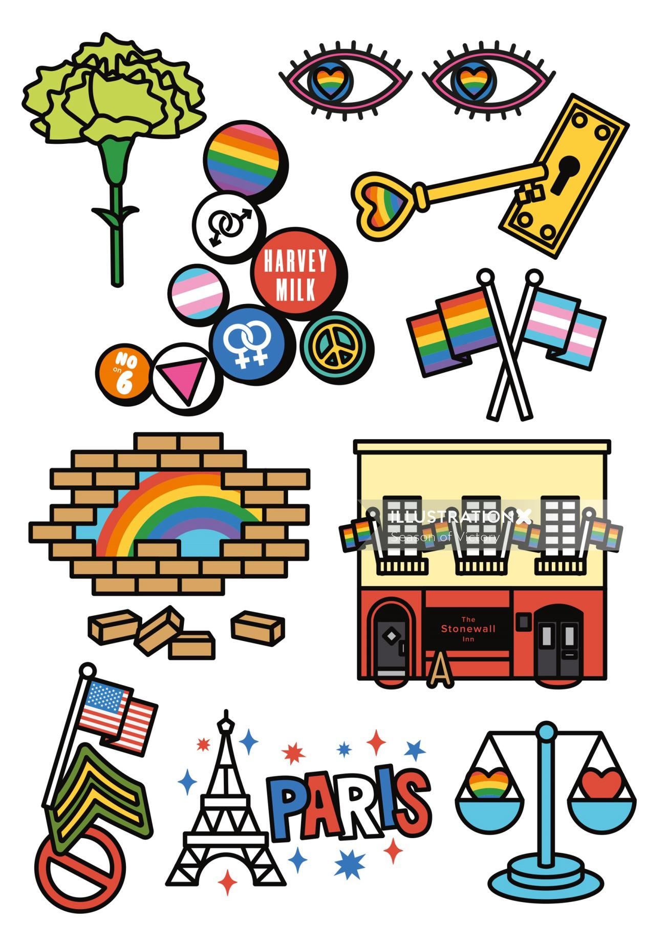 pride, love, gay, book cover, cover art, publishing, icons, spot illustrations, teen, sticker