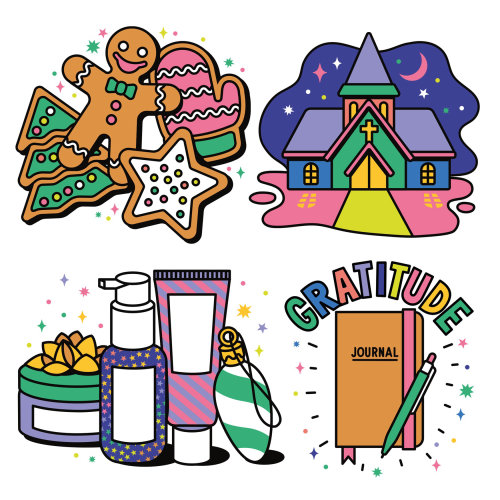 Christmas, icons, icon, stickers, sticker, logos, spot illustrations, spot illustration, festive, Ch