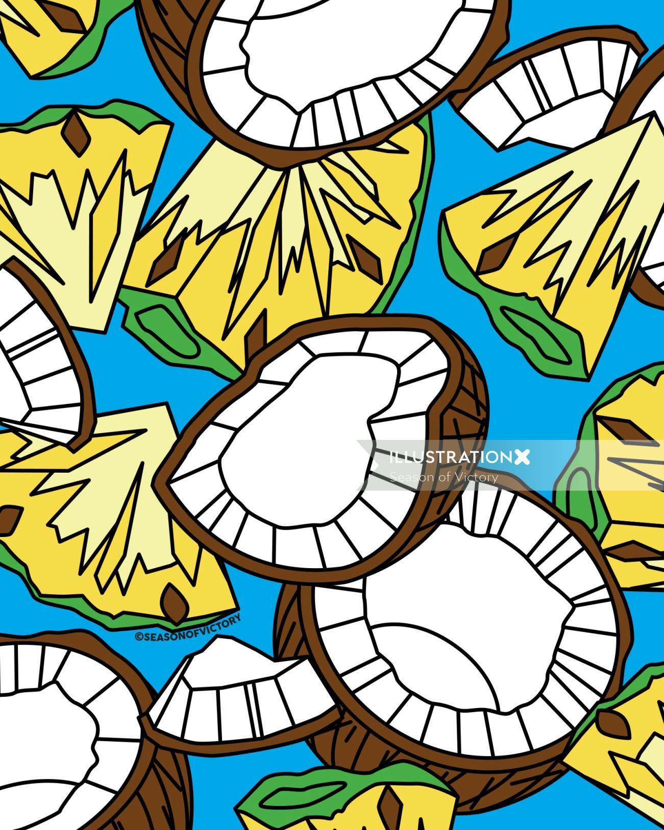 Coconut illustration for packaging design flavored drinks