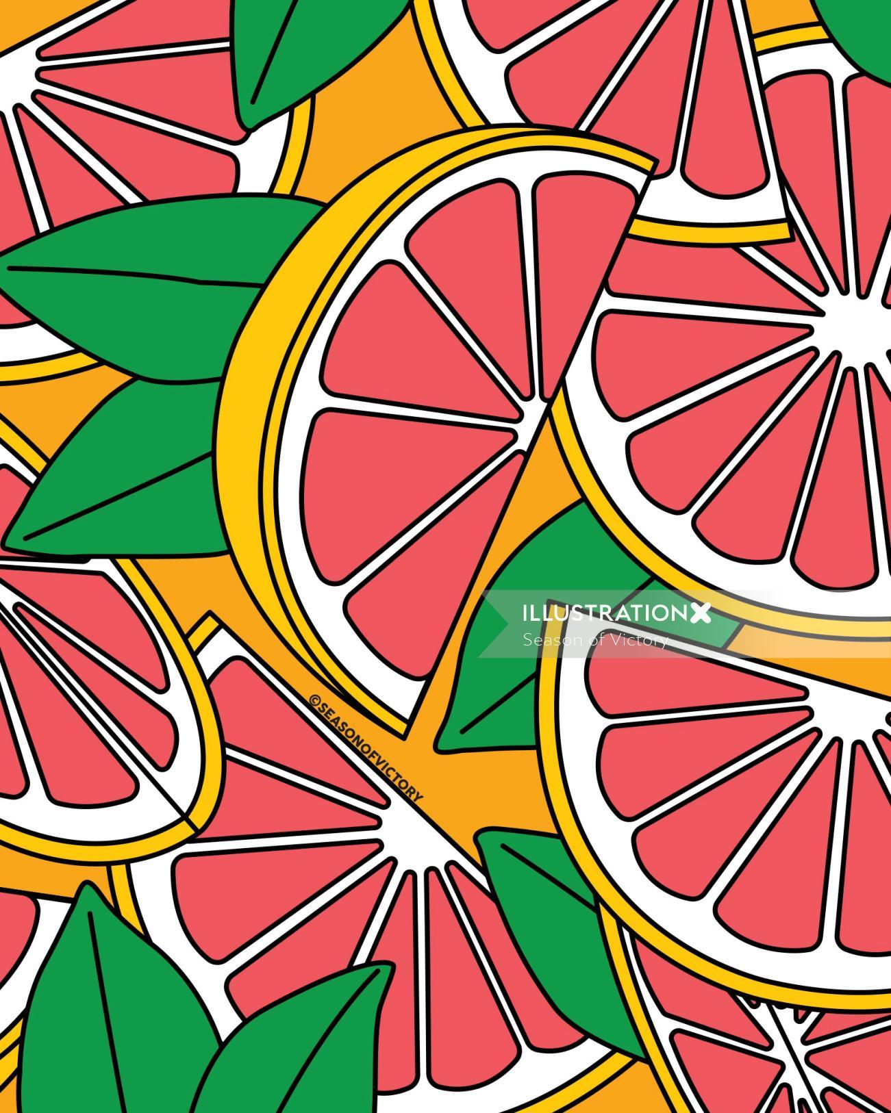 Citrus fruit illustration for packaging design flavored drinks