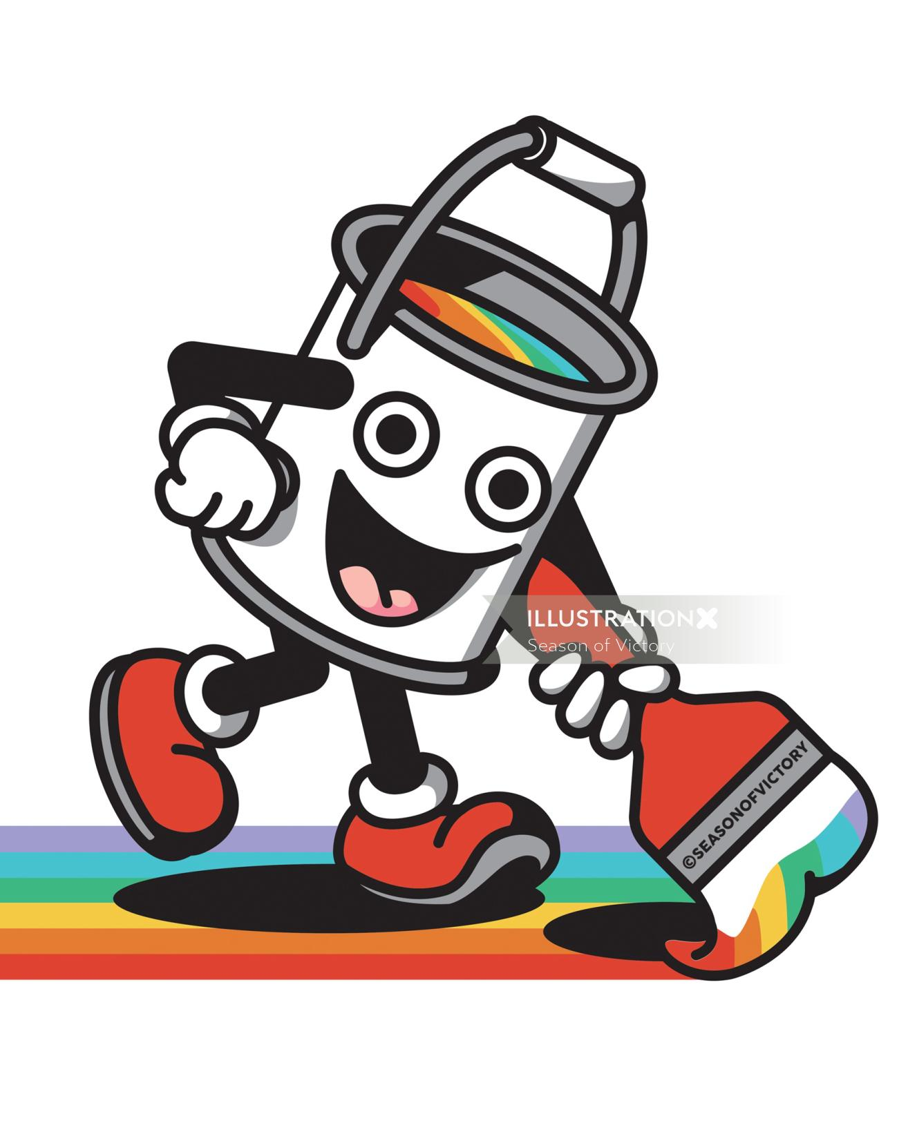 freelance, creativity, paint, paint bucket, rainbow, stripes, painting, character, funny, humor, cut