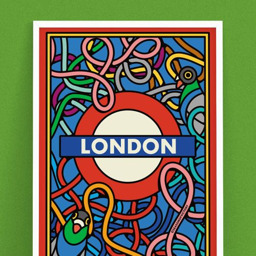 pigeons, travel, commute, transport, train, moquette, cover art, poster, london underground, london,