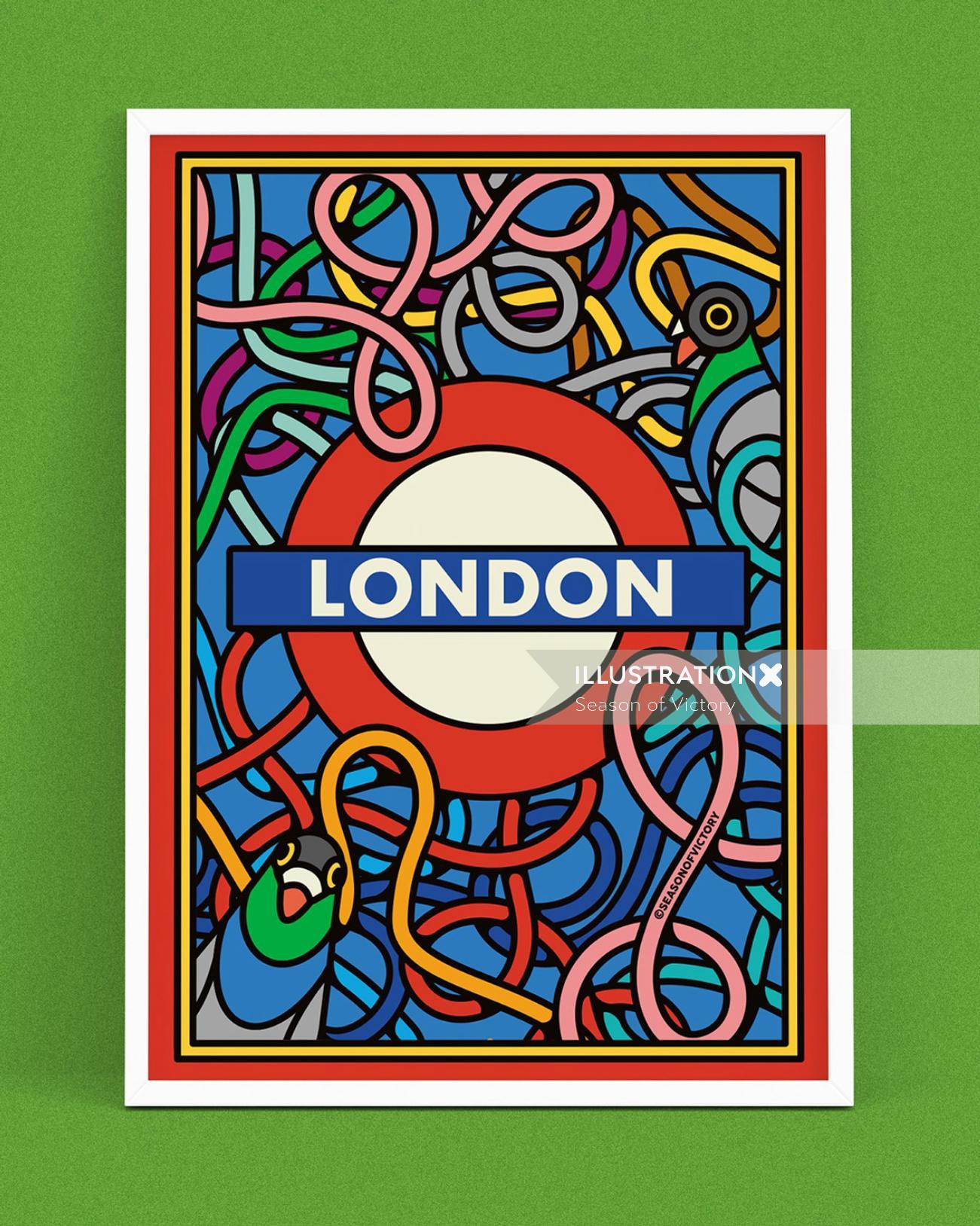 pigeons, travel, commute, transport, train, moquette, cover art, poster, london underground, london,