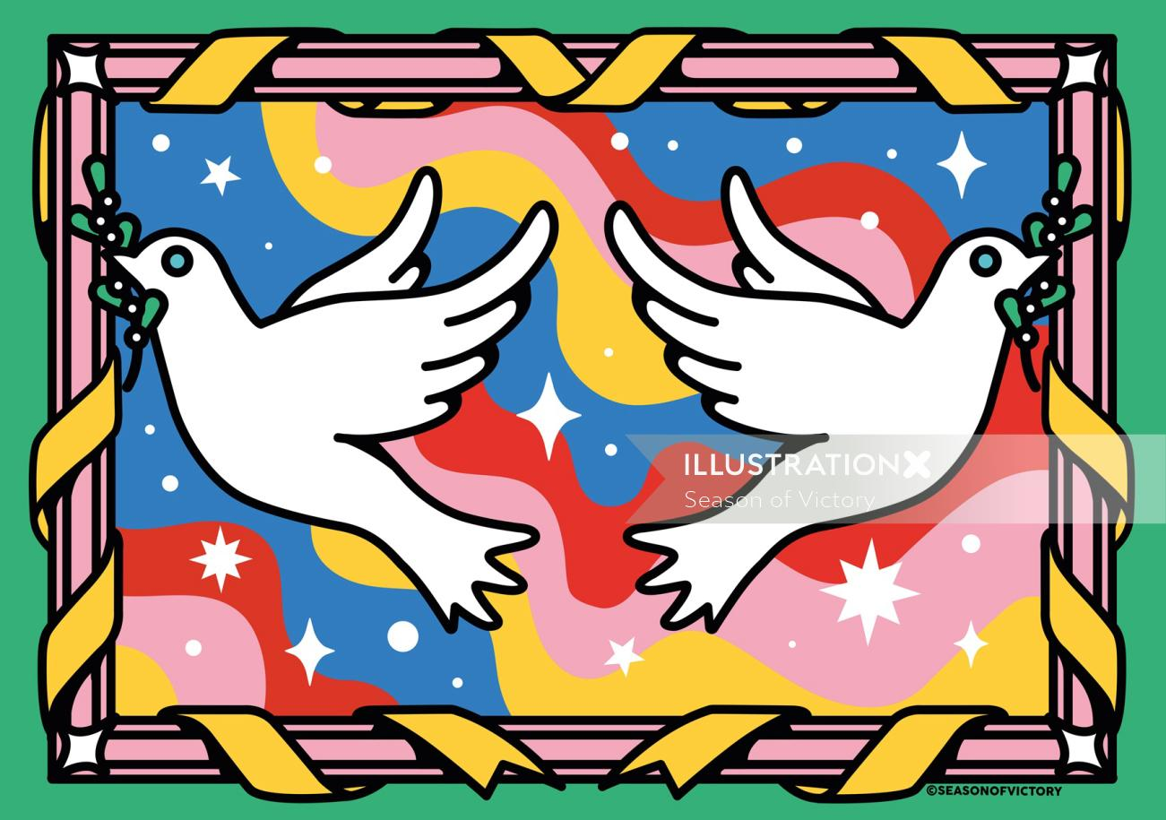 Christmas Peace Doves illustrated greeting card