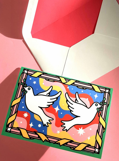 Christmas, peace, doves, birds, bird, animals, dreamy, space, love, greetingcard, stationery, poster