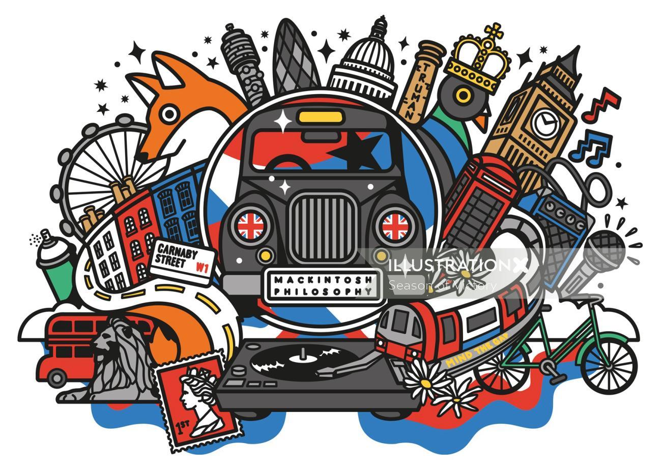 Londonillustration, cityillustration, skyline, skyline illustration, londonillustrator, festivalillu