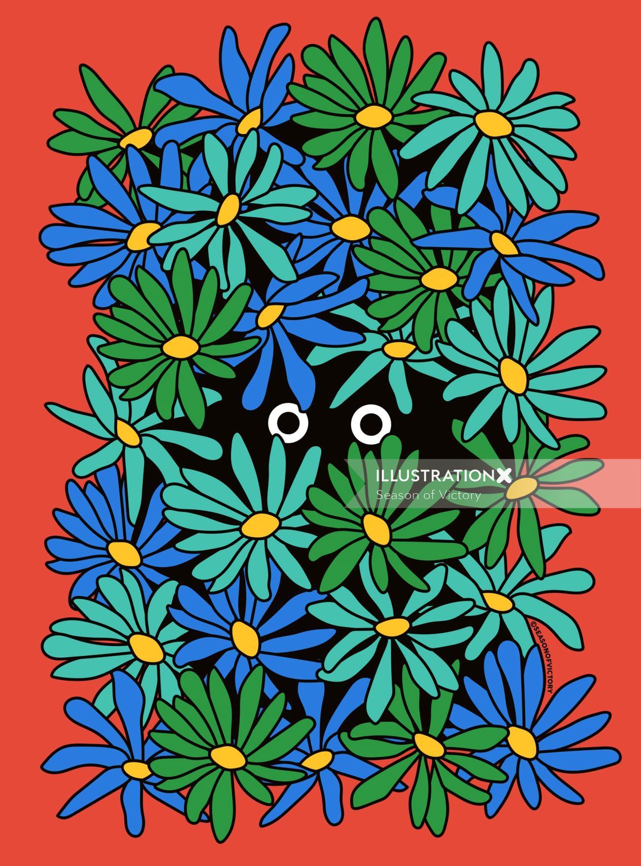 Shy Wallflower - fear, isolation, self isolate, wall art, editorial illustration, spot art, shy, anx