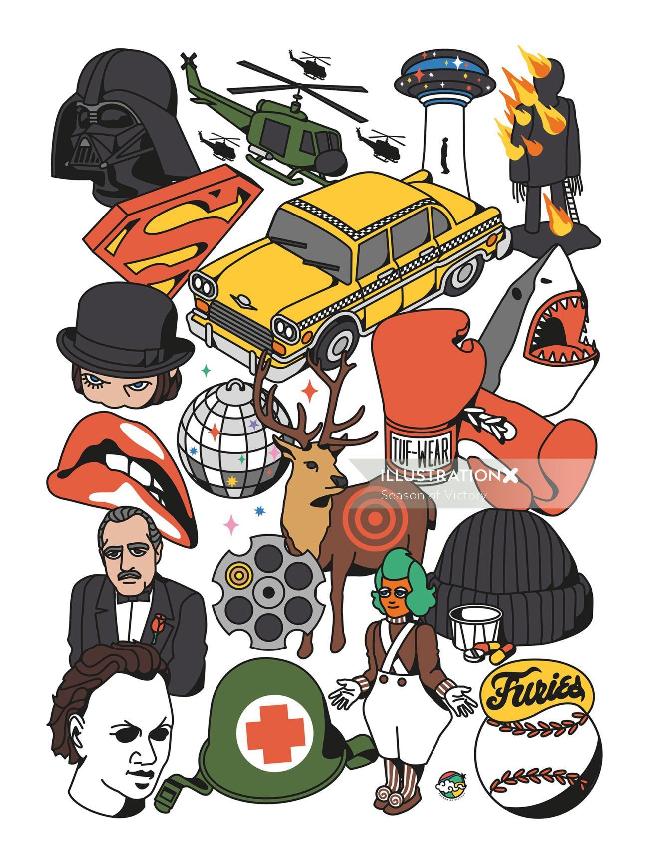isometric illustration, isometric, 80s, 90s, humour, films, entertainment, movies, Netflix, cars, se