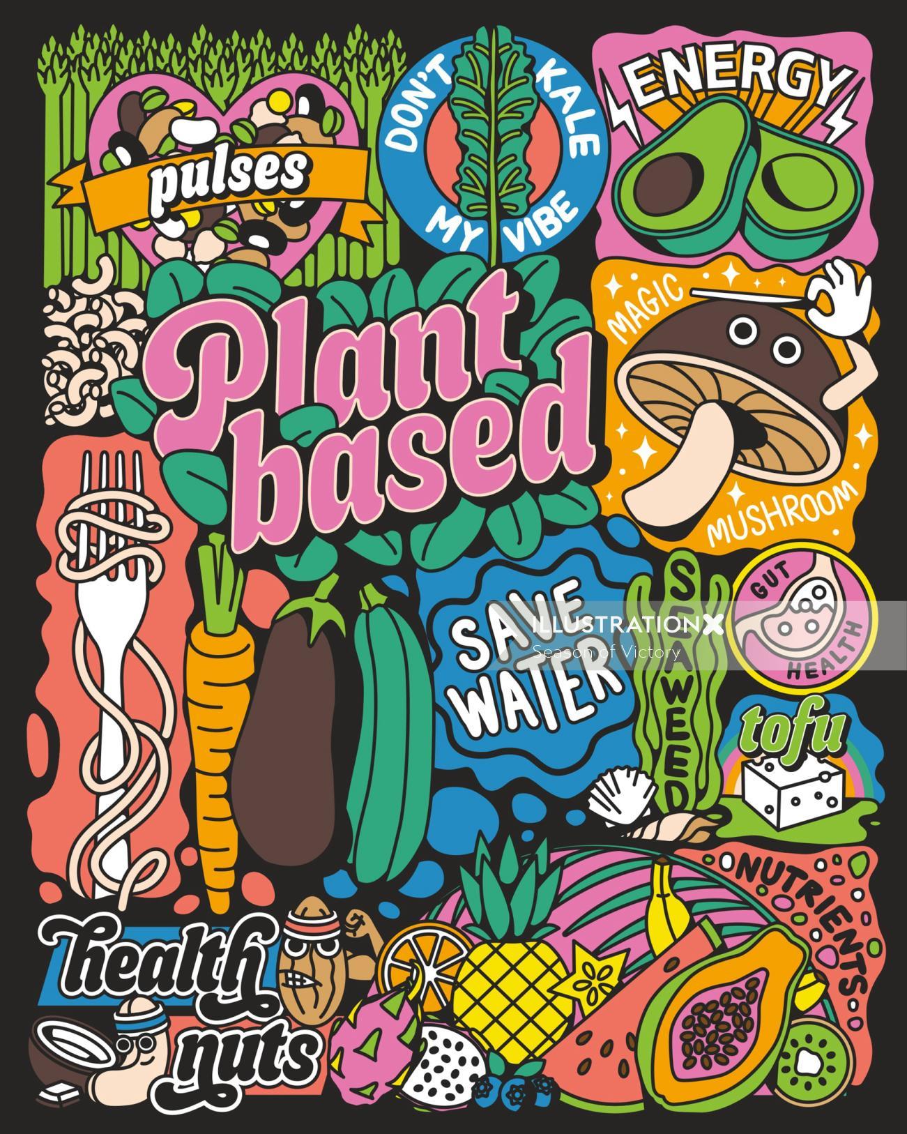 plantbased, plant based, vegan, vegan illustration, vegan festival, plant based festival, festival p