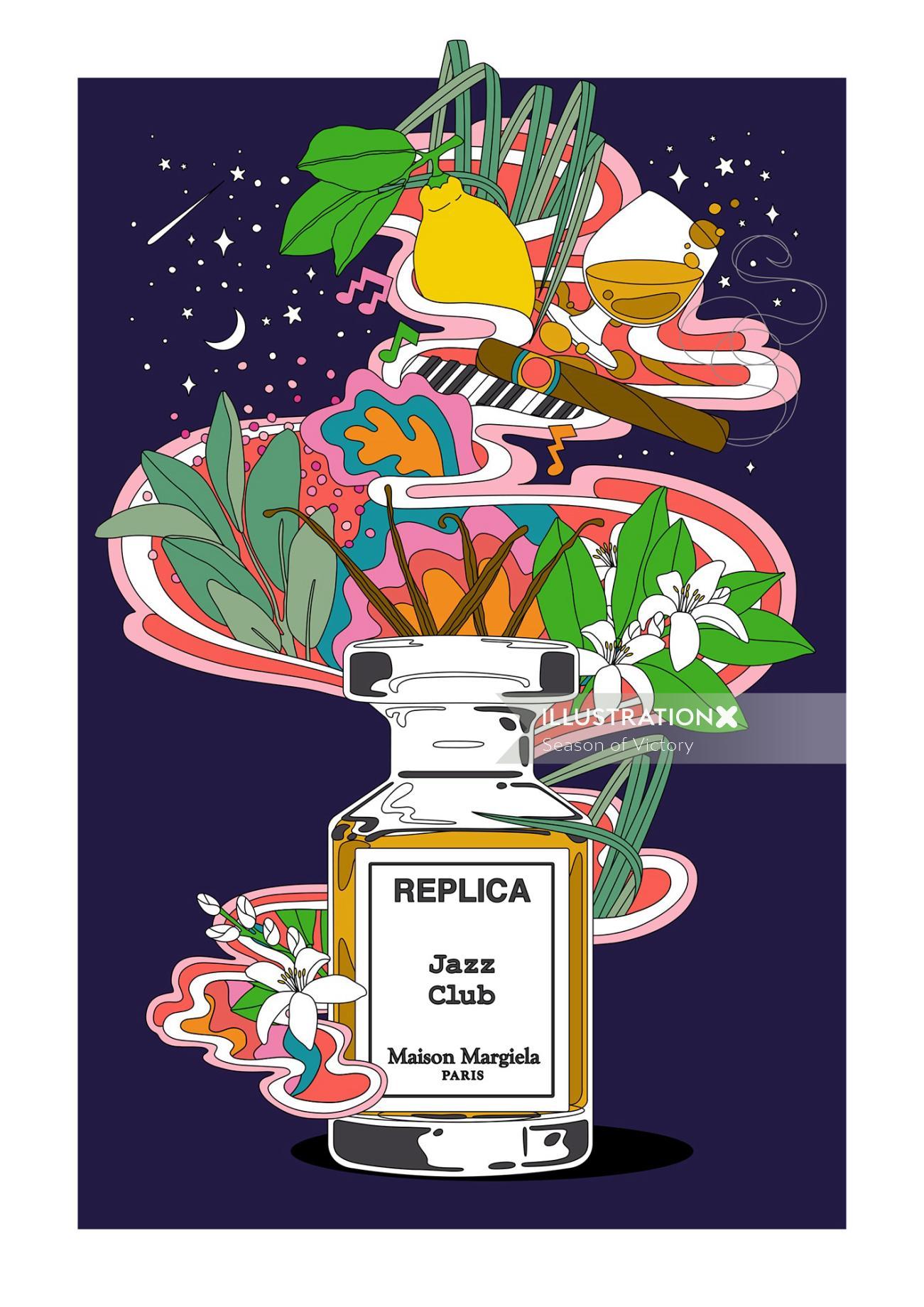 parfum, cologne, ingredients, advert, poster, poster art, poster illustration,packaging, christmas,